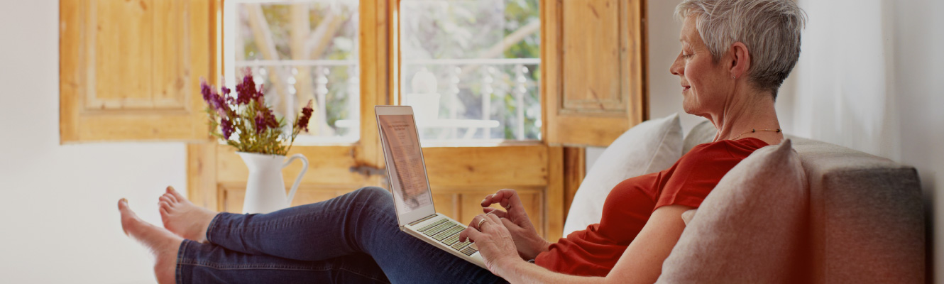 A woman on her laptop